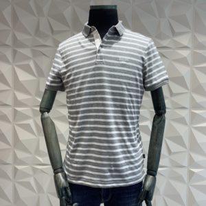 JOOP! Polo Shirt gestreift grau